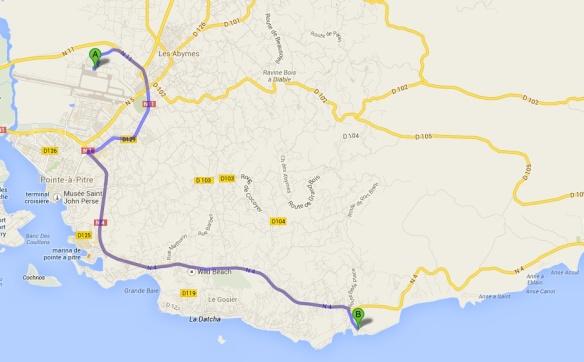 itinéraire aéroport - St Félix